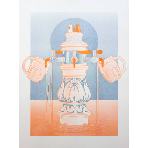 KorallBar-Illustration [Limited Edition] 2. Federal Blue / Orange - KorallBar Hamburg